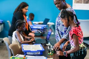 Kids and teachers at Digi-Bridge STEAM program
