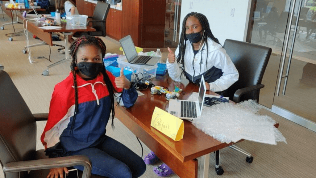 Campers at SHECanCode: Coding Trifecta for Girls